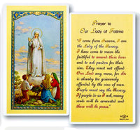 Our Lady of Fatima Laminated Prayer Card Pack of 25