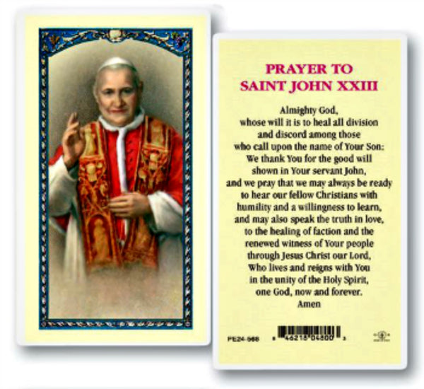 Pope St. John XXIII Laminated Prayer Card E24-568 Hirten