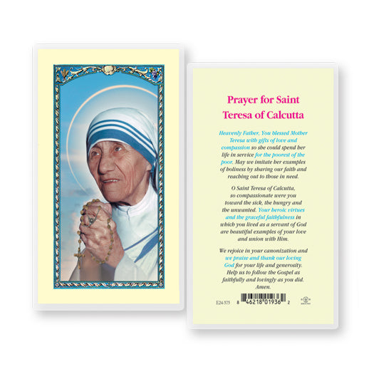 "St. Teresa of Calcutta ""Mother Teresa"" Lamenated Prayer Cards - Pack of 25"