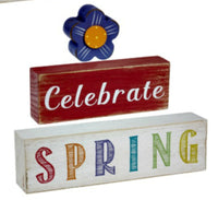 Celebrate Spring Wood Block stackable Sign by Ganz EA12275