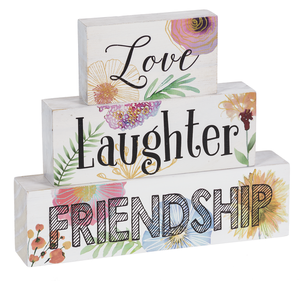 Love Laughter Friendship Stackable Wood Blocks by Ganz