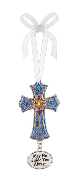 May He Guide You Always Enamel Cross Ornament - Year Round Use