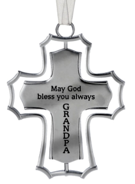 May God Bless You Always Grandpa Spinning Cross Ornament