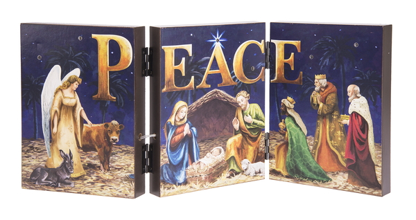 Nativity Scene Light Up Accordian Sign PEACE by Ganz EX20991