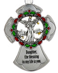 Daughter The Blessing in my Life is You Metal Cross Ornament With Angel Ganz