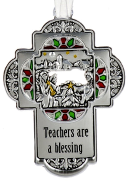 Teachers are a Special Blessing Metal Cross Ornament with Angel Placing Star on Tree