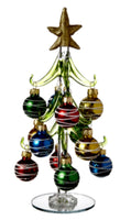 "8.25"" Glass Christmas Tree with Glass Oranments Ganz EX29352"