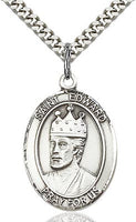 Sterling Silver St. Edward the Confessor Patron Oval Medal Pendant Necklace by Bliss