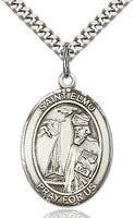 Sterling Silver St. Elmo Patron Oval Medal Pendant Necklace by Bliss
