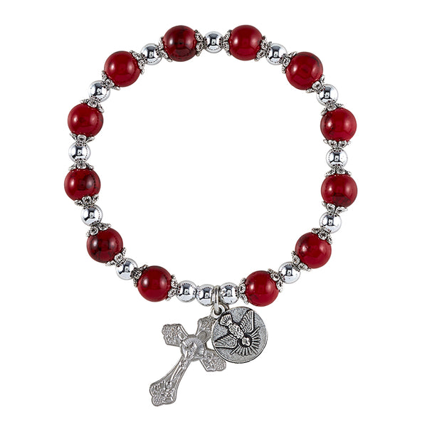 Red Bead & Cross & Holy Spirit Bracelet - Perfect for Confirmation Autom F1117