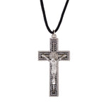 "St. Benedict Crucifix on 28"" Cord Necklace Autom F3217"