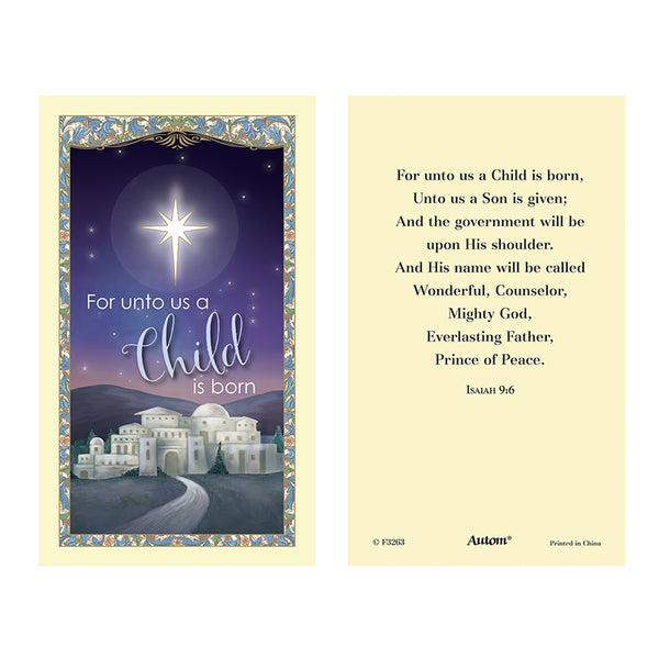 Unto Us a Child is Born Holy Card Pack of 25 Autom F3263