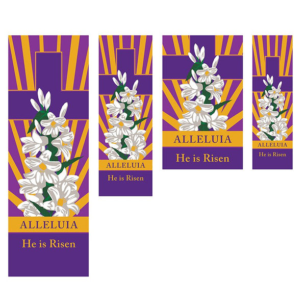 He is Risen Easter Spring Banner With Pole Hem  Choose Your Size