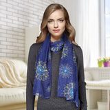Believe Fashion Christmas Scarf NEW Blue Snowflakes  F4315