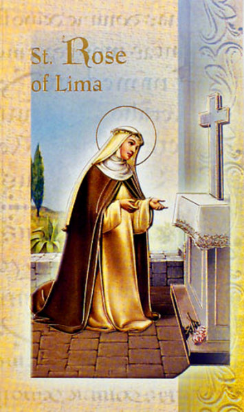 St Rose of Lima Bi-Fold Biography & Prayer Card - PACK OF TEN