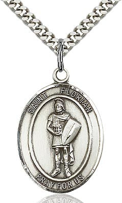 Sterling Silver St. Florian Patron Oval Medal Pendant Necklace by Bliss