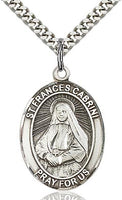 Sterling Silver St. Francis Xavier Cabrini Oval Patron Medal Pendant Necklace by Bliss
