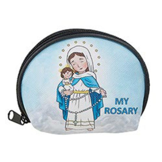 Mini Saints Our Lady of the Rosary Child's Rosary Case  Autom D4468