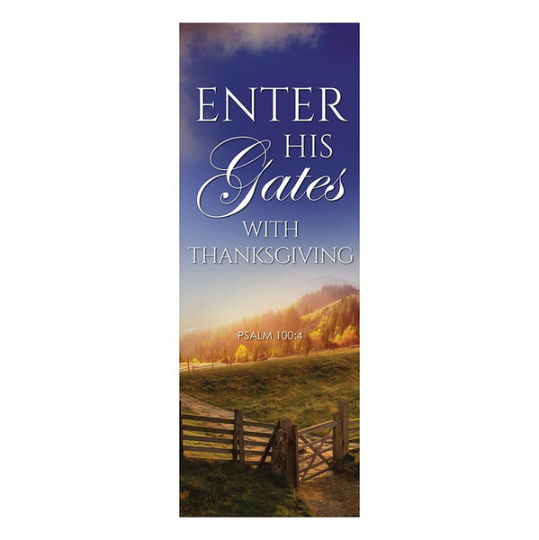Enter His Gates with Thanksgiving X-Stand Banner by Celebrations Banners G5372
