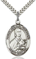 Sterling Silver St. Gemma Galgani Oval Patron Medal Pendant Necklace by Bliss