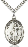 Sterling Silver St. Genesius Patron Oval Medal Pendant Necklace by Bliss Patron of Actors