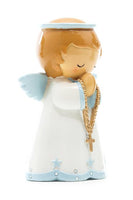 "Guardian Angel in Blue ""Little Drops Of Water"" 3.5"" Statue Figure - Baptism Gift!"
