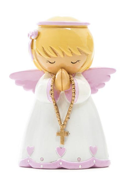 "Guardian Angel in Pink ""Little Drops Of Water"" 3.5"" Statue Figure - Baptism Gift!"