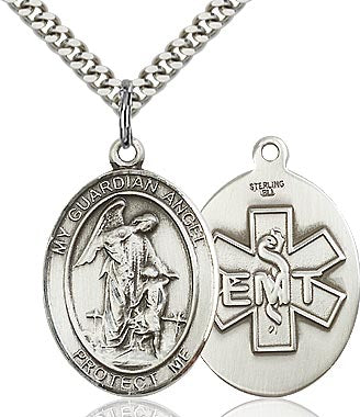 Sterling Silver Guardian Angel EMT Symbol Oval Medal Pendant Necklace by Bliss