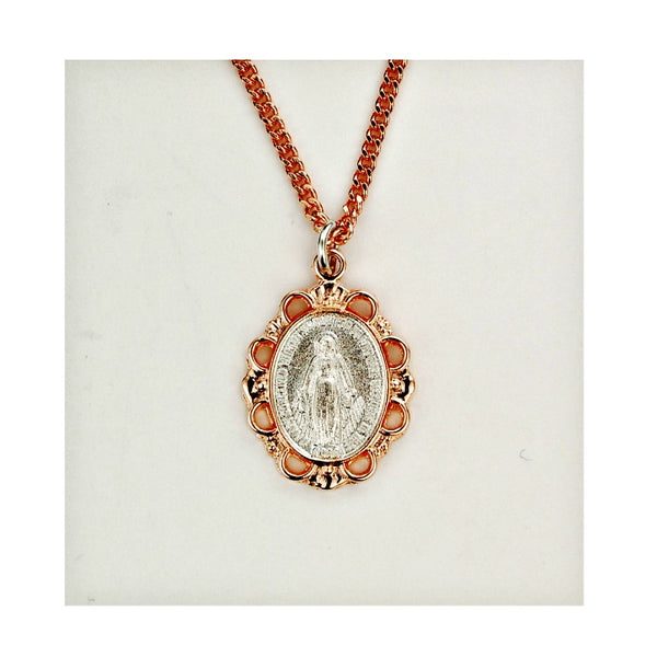 2-Tone Miraculous Medal  Pendant Necklace - Rose Gold & Pewter