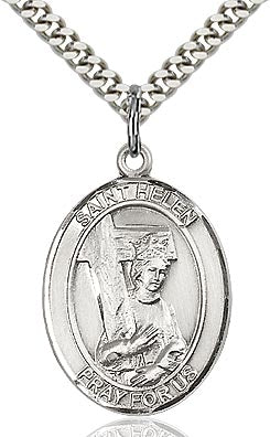 Sterling Silver St. Helen Oval Patron Medal Pendandt Necklace by Bliss (AKA St. Helena)