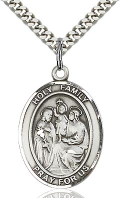 Sterling Silver Holy Family Oval Medal Pendant Necklace by Bliss