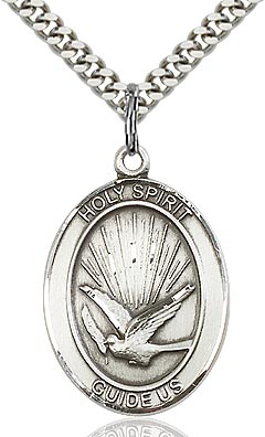 Sterling Silver Holy Spirit Oval Medal Pendant Necklace by Bliss