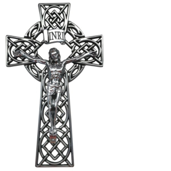 "Celtic Knot 8"" Metal Wall Crucifix NEW Irish Cathedral Art IC205"