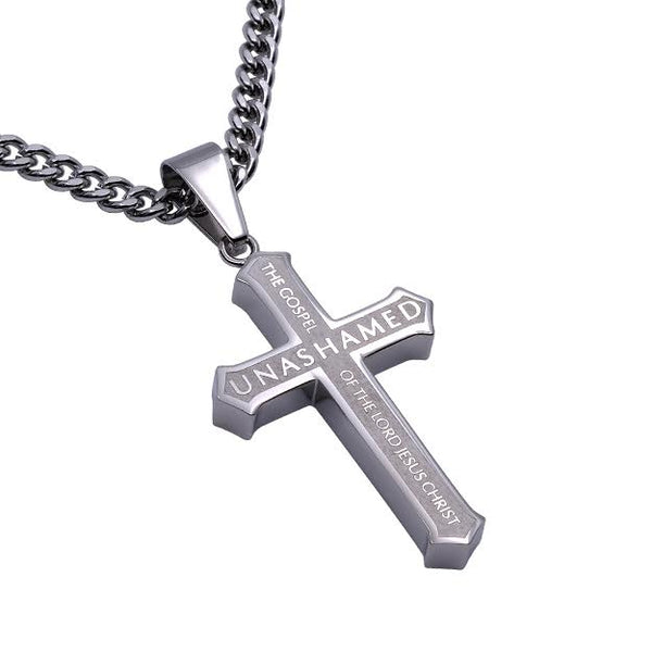 Unashamed Stainless Steel Cross Necklace for MEN Romans 1:16