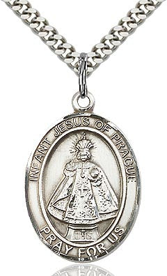 Sterling Silver Infant of Prague Oval Medal Pendant Necklace by Bliss