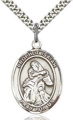 Sterling Silver St. Isaiah Patron Oval Medal Pendant Necklace by Bliss