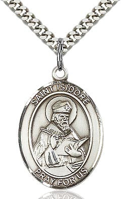 Sterling Silver St. Isidore of Seville Patron Oval Medal Pendant Necklace by Bliss