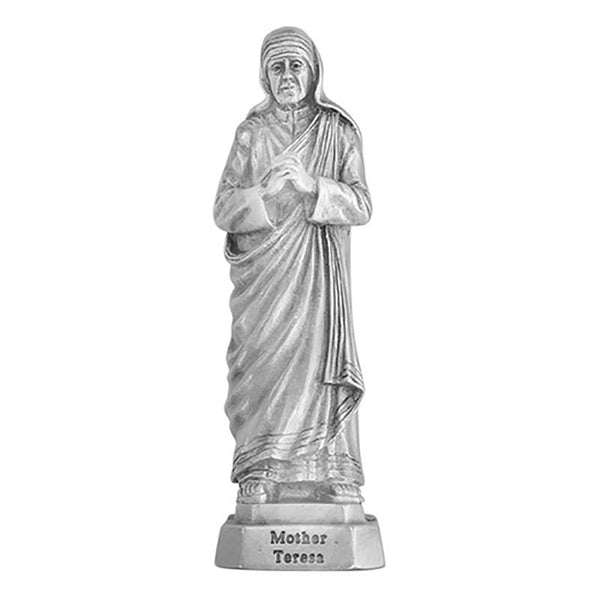 "St. Teresa of Calcutta 3.5"" Pewter Statue Figure by Jeweled Cross JC-3069-E"