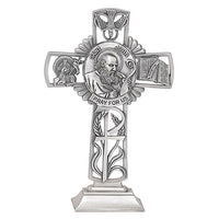 "St. John the Evangelist 5"" Pewter Standing Cross by Jeweled Cross"