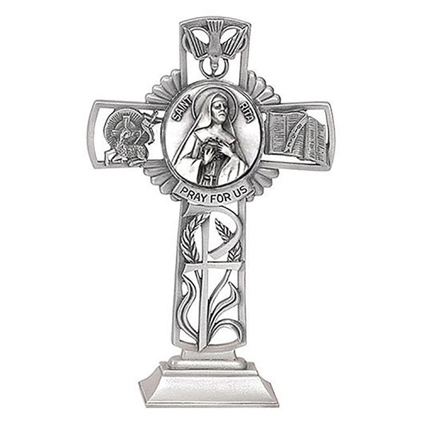"St. Rita of Cascia 5"" Pewter Standing Cross by Jeweled Cross"