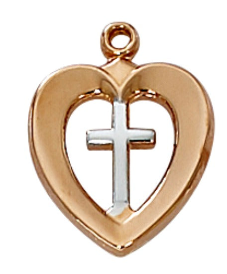 "Rose Gold on Sterling Silver Heart & Cross Pendant on 18"" Chain by McVan MADE IN USA!"