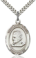 Sterling Silver St. John Bosco Patron Oval Medal Pendant Necklace by Bliss