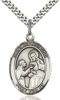 Sterling Silver St. John of God Oval Medal Pendant Necklace by Bliss