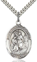 Sterling Silver St. John the Baptist Patron Oval Medal Pendant Necklace by Bliss