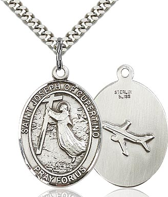 Sterling Silver St. Joseph of Cupertino Patron Oval Medal Pendant Necklace by Bliss
