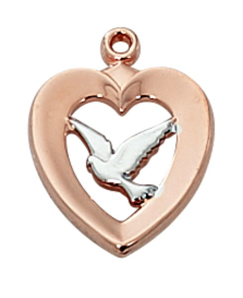 "Rose Gold on Sterling Silver Heart & Holy Spirit Dove Pendant on 18"" Chain by McVan MADE IN USA!"