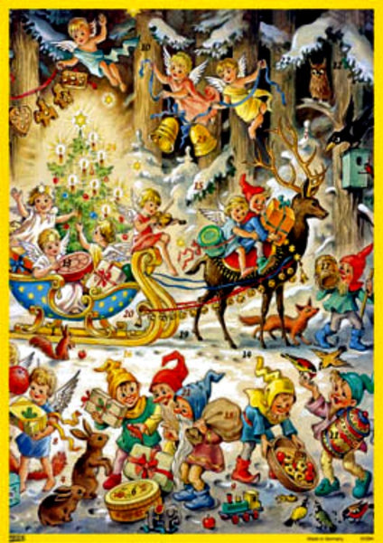 Angels & Elves Sleigh Bells Advent Calendar NEW PRINTED IN GERMANY!