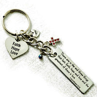 "Bible Verse ""The Greatest of These is Love..."" Inspirational Metal Key Chain Ring"