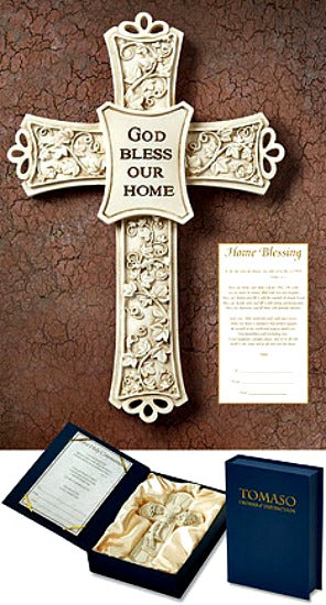 "Tomaso Crosses of Distinction God Bless Our Home Wall Cross 7.5"" Boxed KS429 Autom"