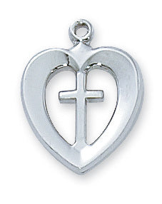 "Sterling Silver Heart & Cross Pendant on 18"" Chain Necklace by McVan L419"
